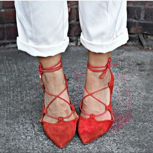 Topshop Ghillie Lace Up Flats Red Suede